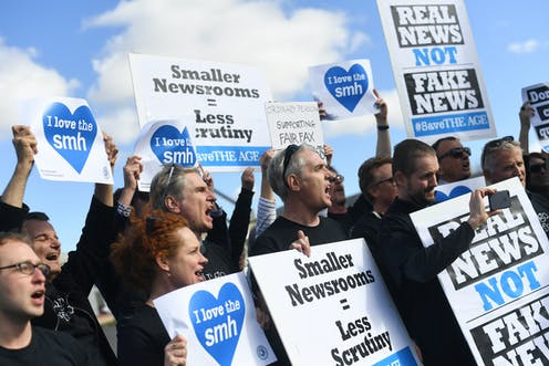 Sydney Morning Herald journalists protest staff cuts in 2016.