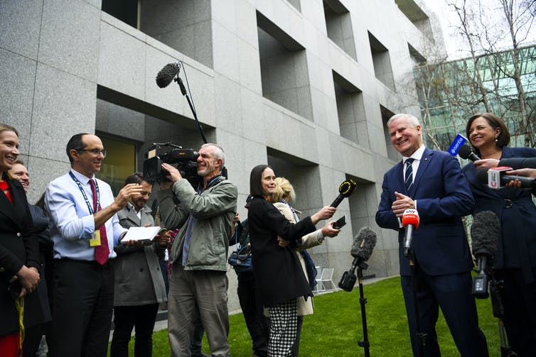 Journalists at Michael McCormack's farewell press conference as Nationals leader.