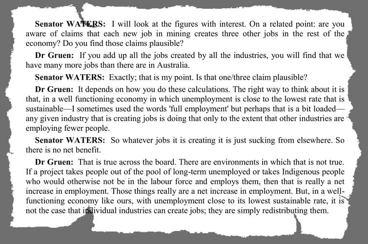 Be suspicious of claims the mining industry creates non-mining jobs