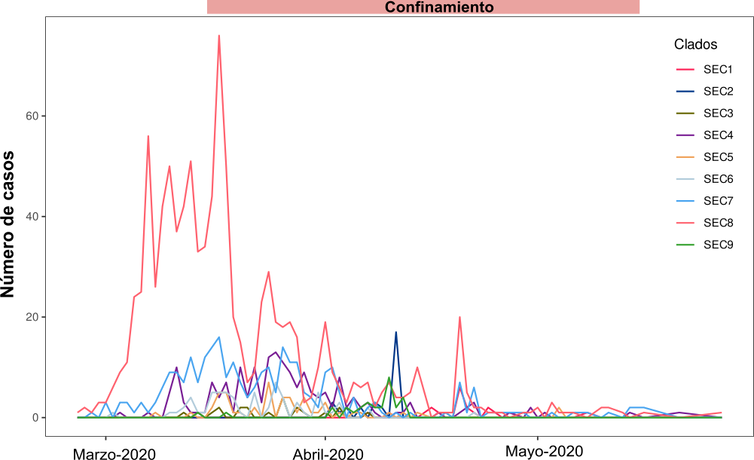 Figura 2. Os nove clados epidémicos eEspañois identificados e a súa incidencia durante os primeiros meses da pandemia.