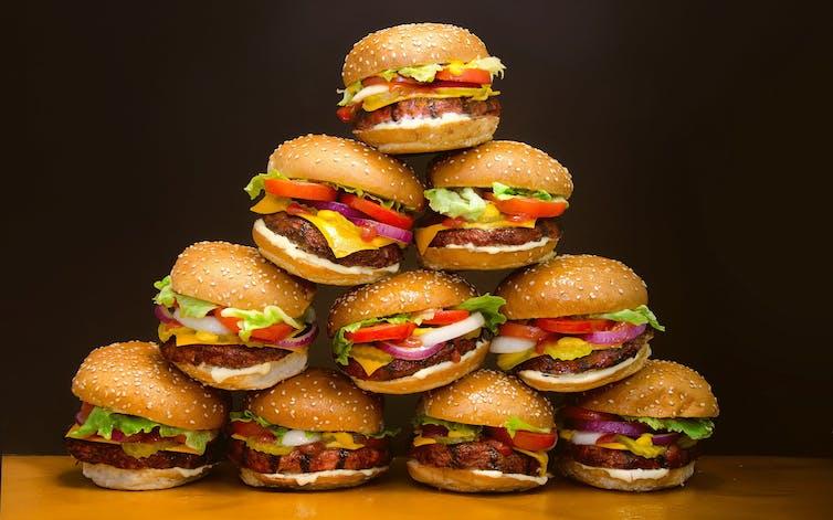 A pile of hamburgers.