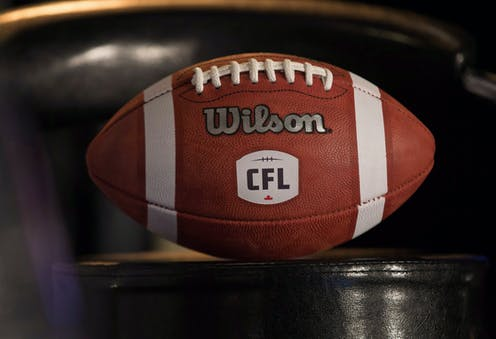 An official CFL football made by Wilson sits on a table