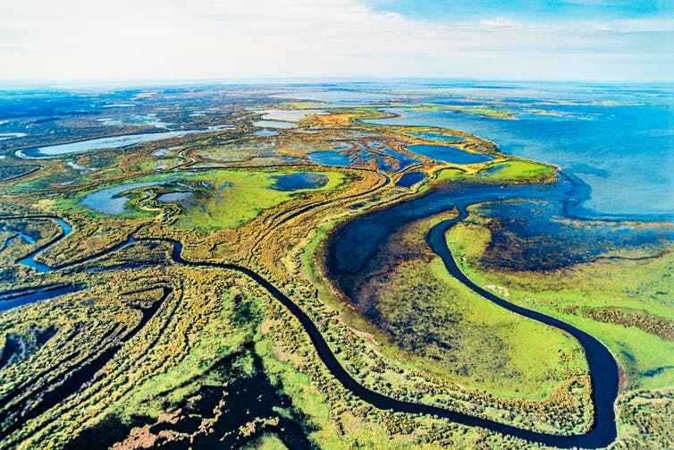 Arial photograph of lakes, wetlands and rivers.