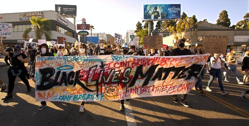 Black Lives Matter protest in Los Angeles streets