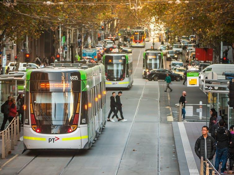 Trams on Swanston Street