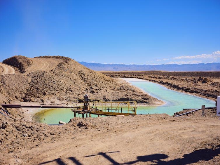 Lithium mine with brine pools