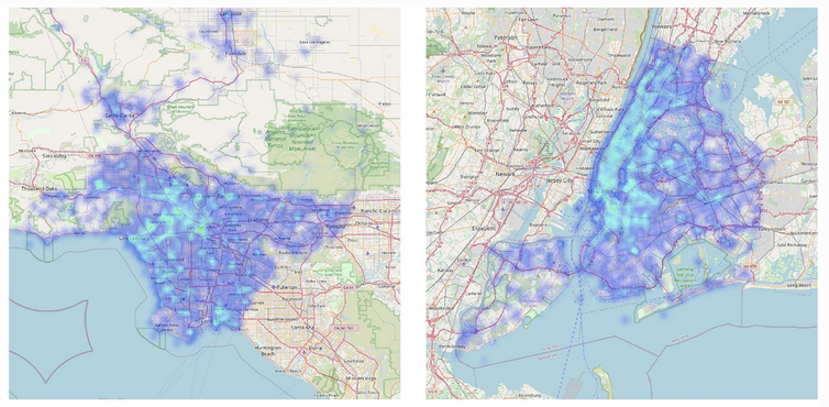 Side-by-side maps of Los Angeles and New York City covered with bright blue blobs