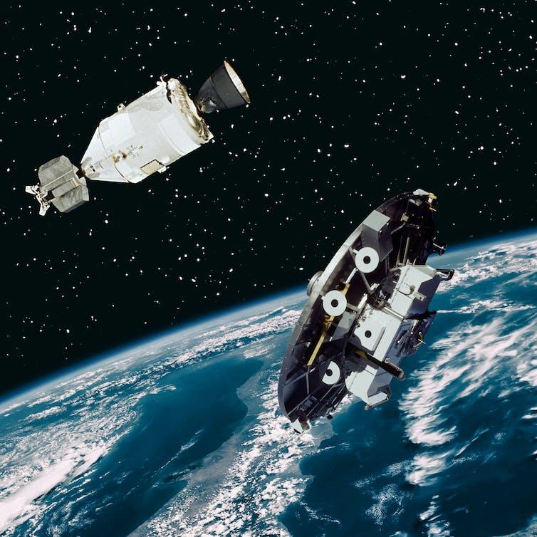 photo collage two satellites in orbit