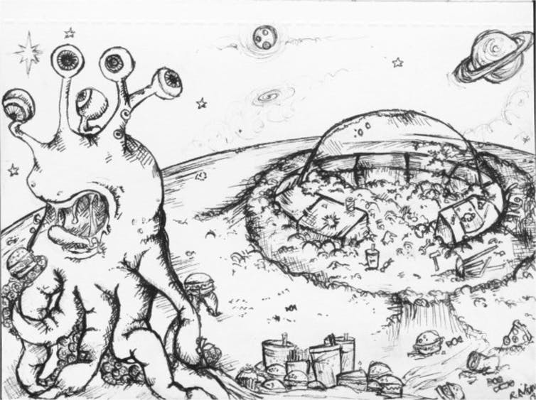 Sketch of an alien above an insular domed civilisation.