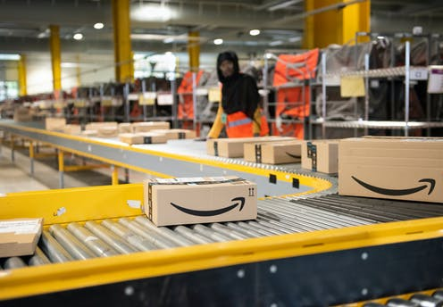 Amazon parcels on a conveyor belt