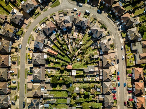 Aerial shot of some a street in Ipswich, England