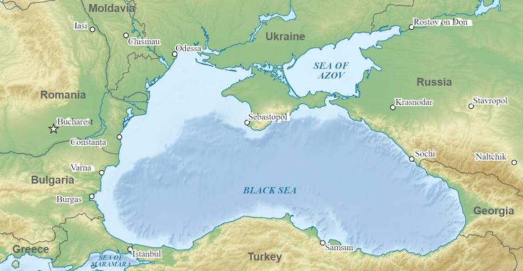 Wikimedia map of Black Sea showing main ports.