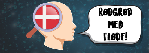 A figure of a human head with a Danish flag on the side and Danish words in a speech bubble.
