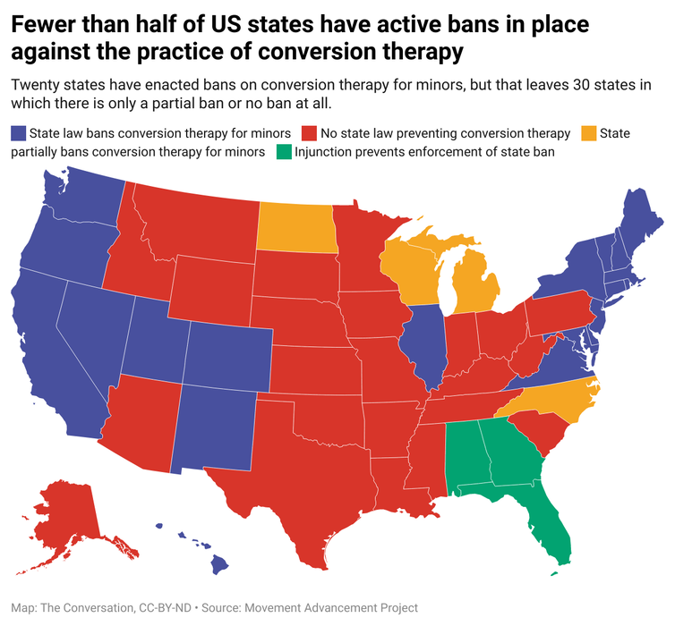 A map of the United States color coded according to whether there is any form of ban against conversion therapy in place.