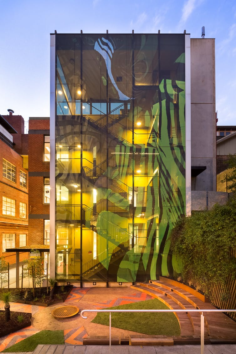 An image of an Indigenous-designed building on the RMIT campus.