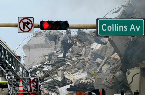 Rubble from building collapse in Miami