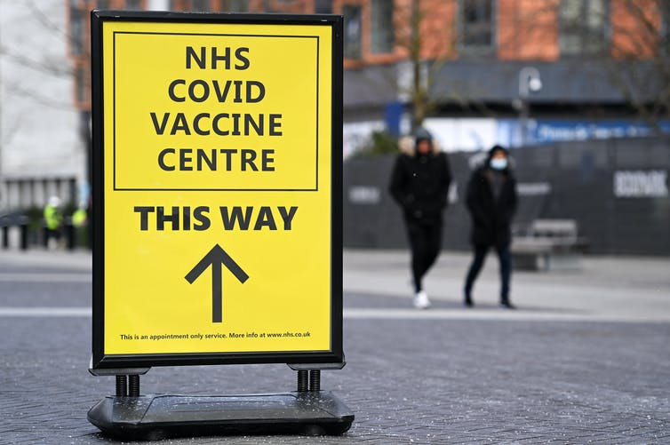 A sign for a UK vaccination centre