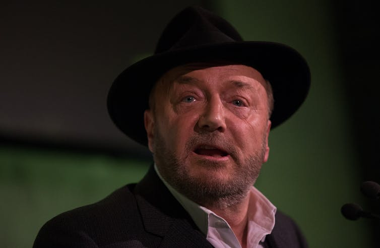 Independent politician George Galloway wearing a hat.