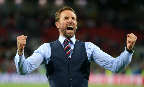 Gareth Southgate celebrates a win as manager.