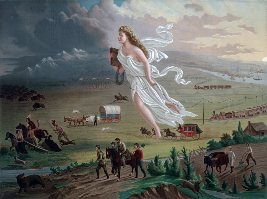 A painting showing U.S. expansion across the plains, displacing bison and Native Americans