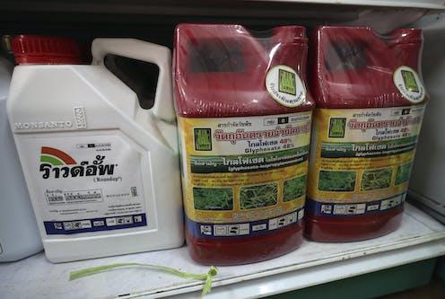Plastic jugs of weed killer .
