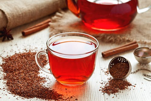 A cup of rooibos tea on a table, surrounded by loose tea, a teapot and spices