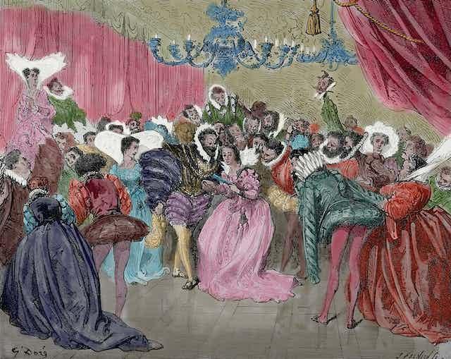 A coloured illustration of the ball scene in Cinderlla.