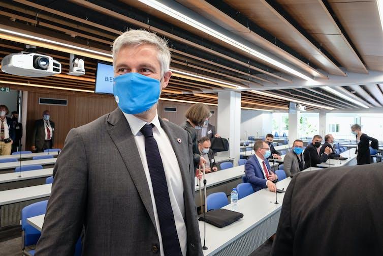 Laurent Wauquiez wearing a mask