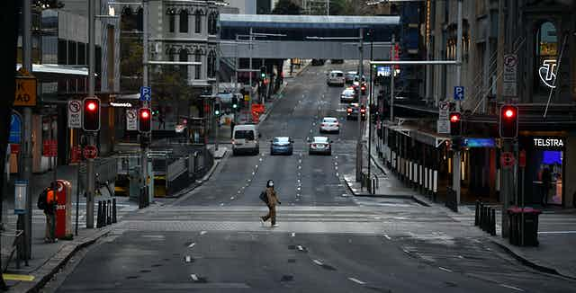 An almost empty street in Sydney's CBD, June 28 2021.