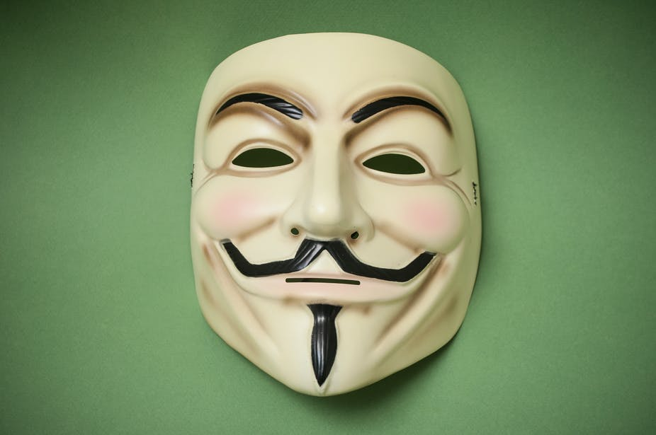 A Guy Fawkes mask against a green background