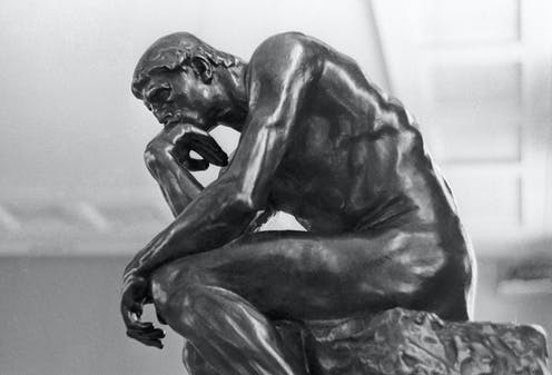 Black and white photograph of The Thinker.