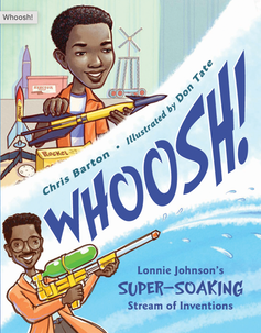 Children's book cover with man holding water gun