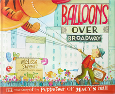 Children's book cover with man holding strings to parade balloon