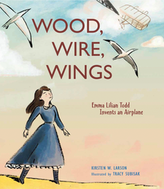 Children's book cover of woman watching birds fly