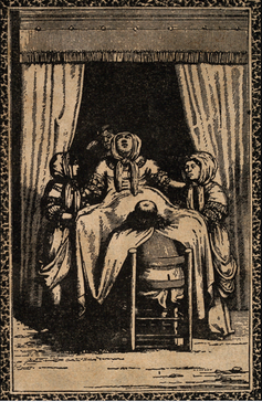 A woodcut engraving of a male surgeon attending a woman giving birth, from 1711.