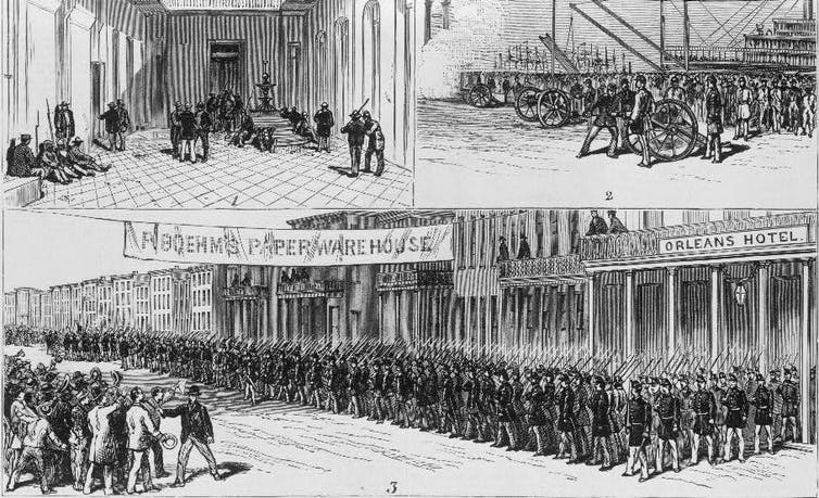 Illustrations showing troops preparing to leave and marching out of a town center
