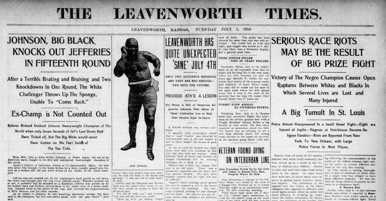 A newspaper front page showing news of the fight result and ensuing violence