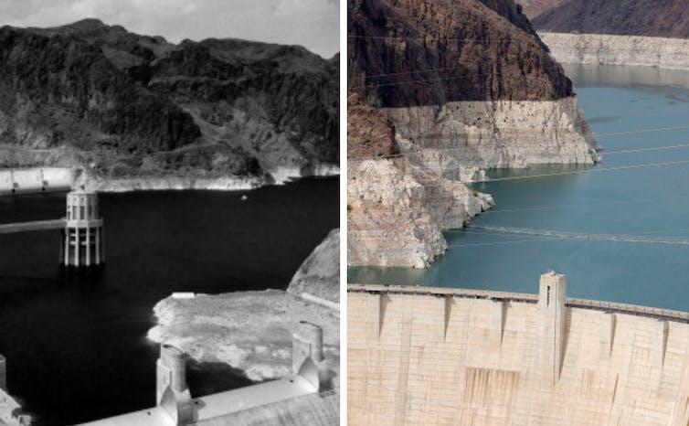 Dos fotografías que muestran las caídas del nivel del agua del lago Mead
