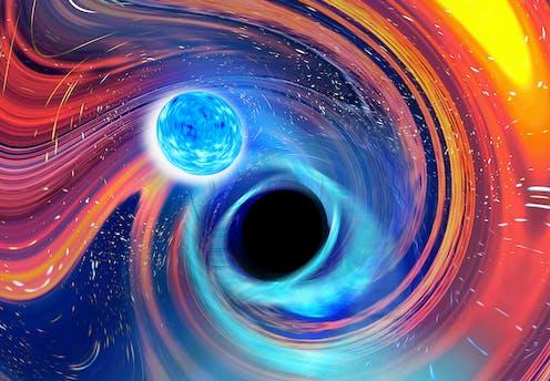 Artist's view of a black hole-neutron star merger.
