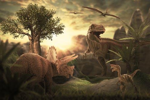 3D rendering of dinosaurs.