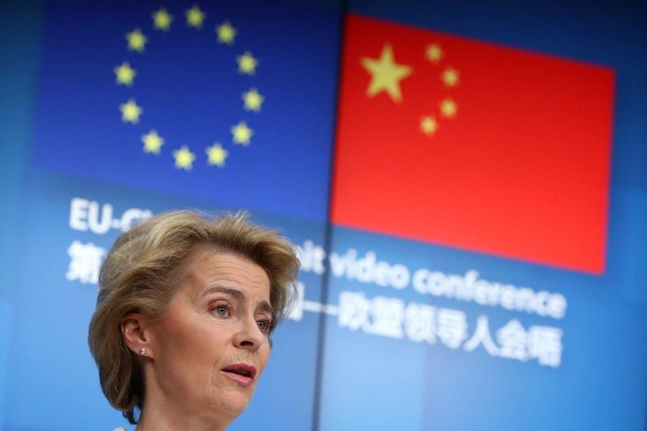 La présidente de la Commission européenne, Ursula von der Leyen, pendant un sommet virtuel Chine-UE le 22 juin 2020.