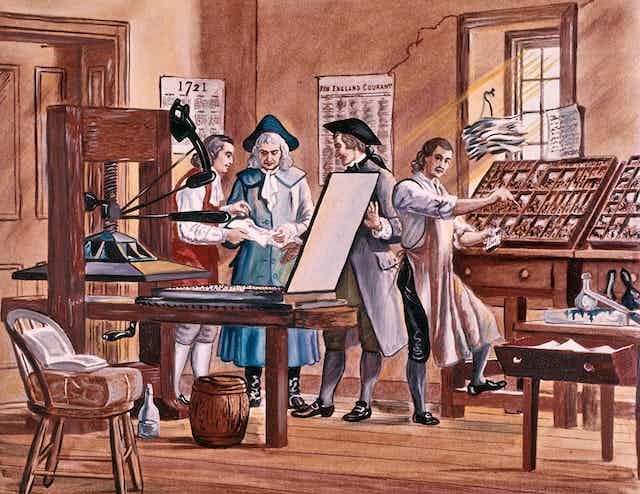 drawing of men around an 18th C printing press
