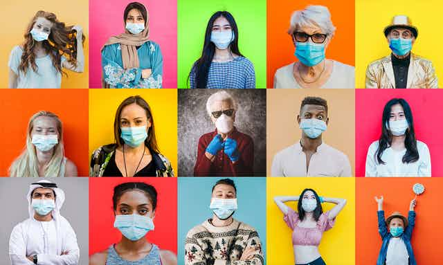 Montage of people wearing masks against colourful background