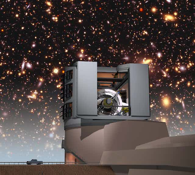 An artist's concept of the Vera Rubin observatory with galaxies in the background.