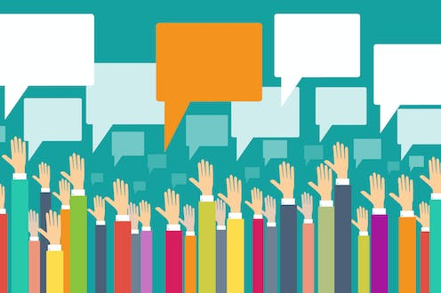 white hands reaching up to speech bubbles