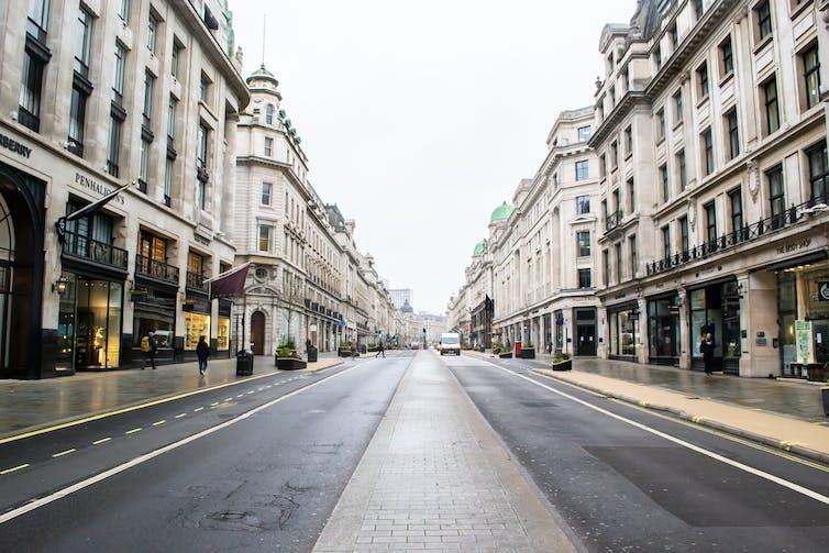 Empty Regent Street in London.