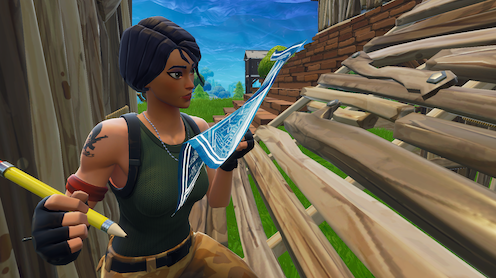 A scene from Fortnite in which a character holds a pencil and blueprints while building