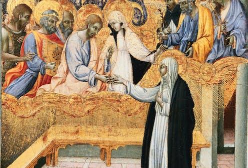 15th Century Sienese Panel Depicting the Communion of Saint Catherine.