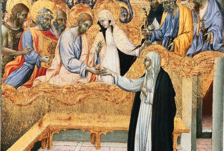 15th-century Sienese Panel Depicting the Communion of Saint Catherine