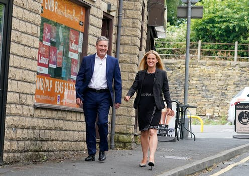 Labour party leader Keir Starmer with Kim Leadbeater in Clackheaton after she won the Batley and Spen by-election on July 1 2021.